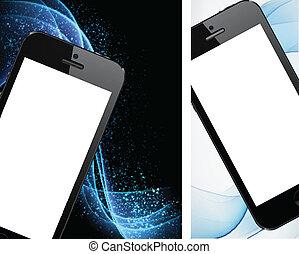 réaliste, smartphone, noir, backgrounds.