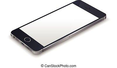 réaliste, smartphone, noir
