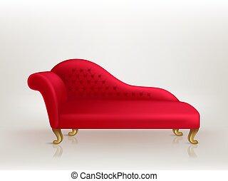 réaliste, sofa, luxueux, personne, vip, vecteur, rouges