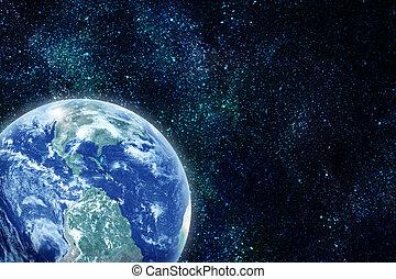 réaliste, terre planète, dans, espace