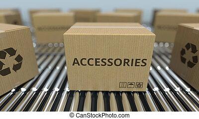 réaliste, texte, conveyor., mouvement, accessoires, rendre, boîtes, carton, rouleau, 3d