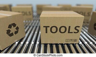 réaliste, texte, conveyor., mouvement, rendre, boîtes, carton, outils, rouleau, 3d