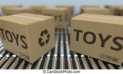 réaliste, texte, conveyor., mouvement, rendre, boîtes, jouets, carton, rouleau, 3d