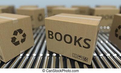 réaliste, texte, conveyor., mouvement, rendre, boîtes, livres, carton, rouleau, 3d