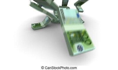 réaliste, tomber, euro, -, paquets