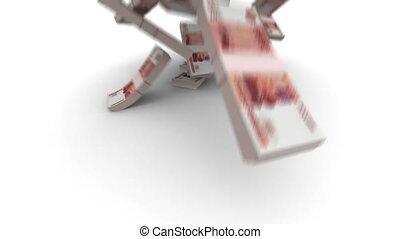 réaliste, tomber, rubles, -, paquets
