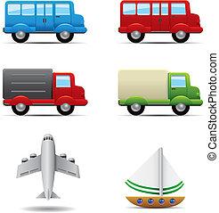 réaliste, transport, icônes, ensemble