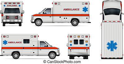réaliste, vecteur, ambulance, illustration, voiture