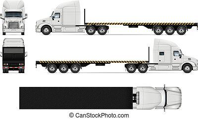 réaliste, vecteur, camion, plat, illustration