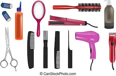 réaliste, vecteur, coiffeur, icônes