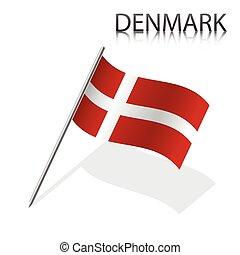réaliste, vecteur, drapeau, illustration, danois