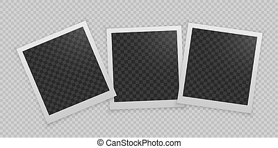 réaliste, vecteur, frame., ensemble, photo
