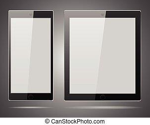 réaliste, vecteur, informatique, tablette
