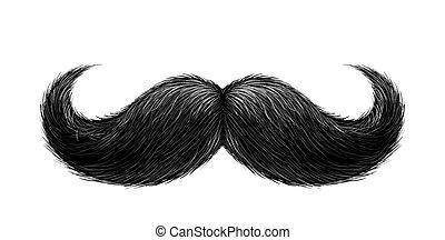 réaliste, vecteur, noir, moustache
