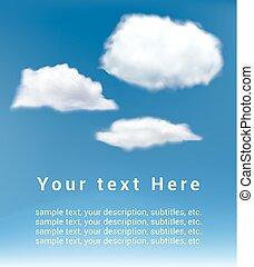 réaliste, vecteur, nuages blancs, sur, ciel bleu, fond