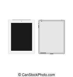 réaliste, vecteur, pc tablette