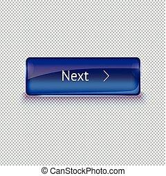 réaliste, verre, bouton, pour, toile, interface., vecteur, illustration.