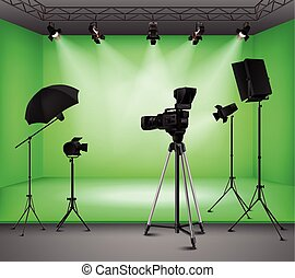 réaliste, vert, écran, intérieur, studio