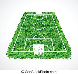 réaliste, vide, t, herbe, vue, football, perspective, champ