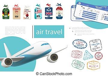 réaliste, voyage, concept, air