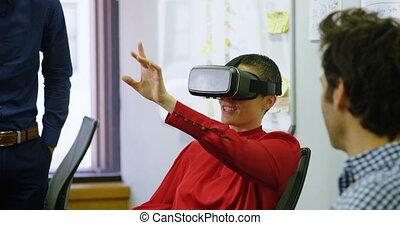 réalité, casque à écouteurs, bureau, virtuel, utilisation, ...