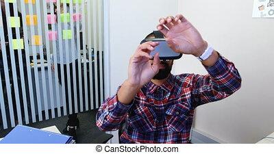 réalité, casque à écouteurs, cadres, virtuel, utilisation, ...