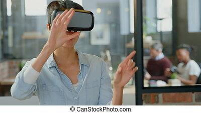 réalité, casque à écouteurs, femme, virtuel, utilisation, ...
