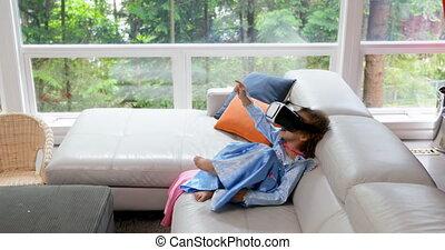 réalité, casque à écouteurs, girl, virtuel, bébé, ...