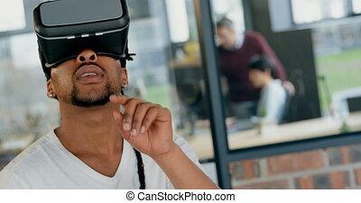 réalité, casque à écouteurs, virtuel, utilisation, cadre ...