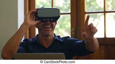 réalité, casque à écouteurs, virtuel, utilisation, homme, 4k...