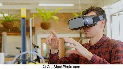 réalité, casque à écouteurs, virtuel, utilisation, ...