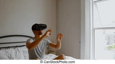 réalité, chambre à coucher, casque à écouteurs, virtuel, ...