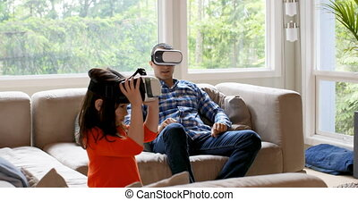 réalité, fille, casque à écouteurs, virtuel, utilisation, ...