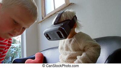 réalité, frères soeurs, casque à écouteurs, virtuel, ...