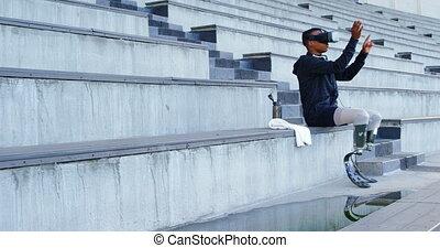 réalité, handicapé, casque à écouteurs, virtuel, utilisation...