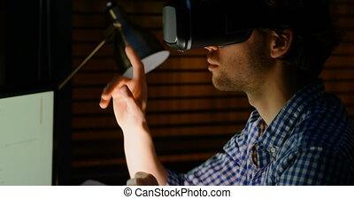 réalité, par, virtuel, regarder, mâle, lunettes, cadre, 4k