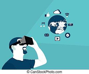 réalité, plat, virtuel