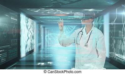 réalité, scientifique, écrans, docteur, casque à écouteurs, ...