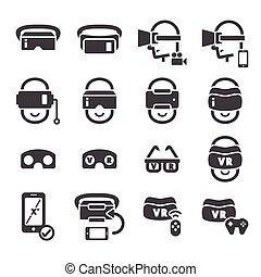 réalité, virtuel, icône