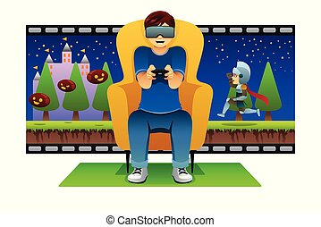 réalité virtuelle, jeu, illustration, jouer, homme
