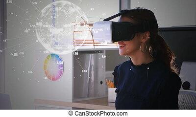 réalité virtuelle, lunettes, femmes, utilisation