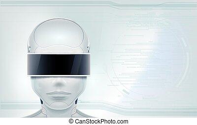réalité virtuelle, lunettes, robot, head.
