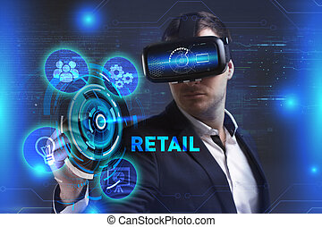 réalité, voit, réseau, fonctionnement, inscription:, concept., jeune, virtuel, business, internet, homme affaires, technologie, vente au détail, lunettes