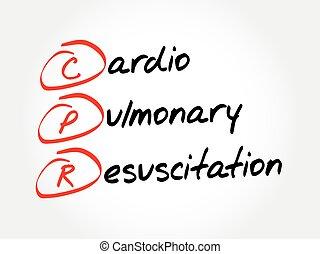 réanimation, concept, cardiopulmonaire, acronyme, monde médical, -, cpr