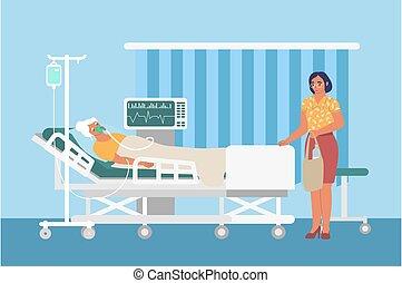 réanimation, femme, triste, lit, hôpital, goutte, patient, pupille, monde médical, illustration., vecteur, ventilateur, plat