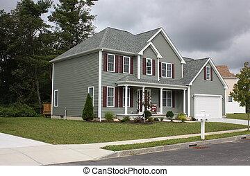 récemment, complété, maison, résidentiel