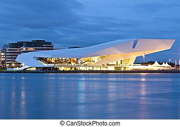 récemment, construit, pellicule, musée, dans, amsterdam,...