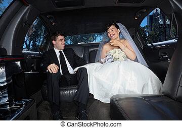 récemment, limousine, couple, marier