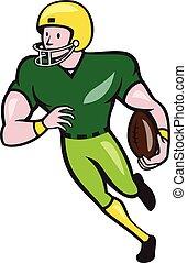 récepteur football, américain, isolé, dessin animé, courant