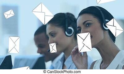 réception, centre, courrier, agents, appeler